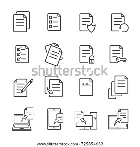 Paper and electronic document with line icons can be editable stroke. vector illustration.