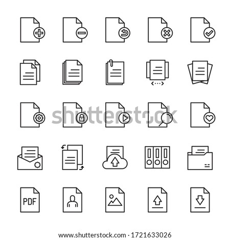 Paper and form 25 line icons vector