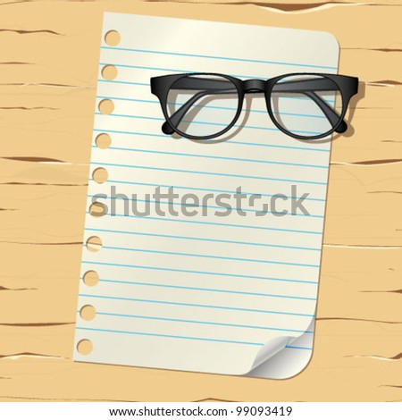 paper and glasses on the table