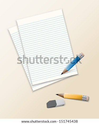 paper and pencil with eraser - eps10 Stok fotoğraf ©