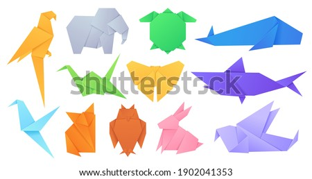Paper animals. Japanese origami folded toys birds, fox, butterfly, parrot and hare. Cartoon geometric wild animal shaped figures vector set. Illustration origami bird animal, paper toy folded