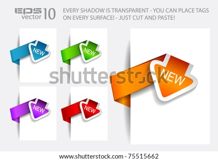 Paper Arrow Style tags with TRANSPARENT shadows. You can pleace it on every surface!