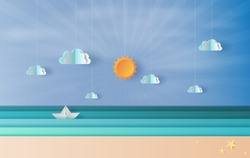 Paper art and craft of sea view with a floating sailing boat in the clear sun lighting blue sky.vector, illustration.