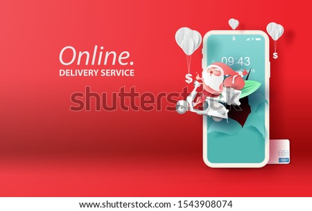 Paper art and craft of smartphone for online shopping summer Christmas your text space background.Santa Claus Delivery services on mobile phone concept.Application order internet.vector.illustration.