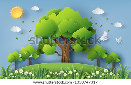 Paper art and craft style of beautiful daisy flowers field with many trees in a forest, save the planet and energy concept, flat-style vector illustration.