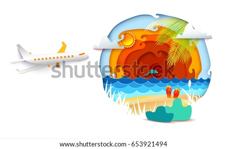 Paper art and craft style. Sun, sea, palm leaves and airplane is flying on the sky. Vector Paper cut illustration. Tropic landscape for travel, vacation, adventure banners.