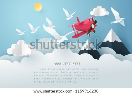 paper art bird and airplane fly