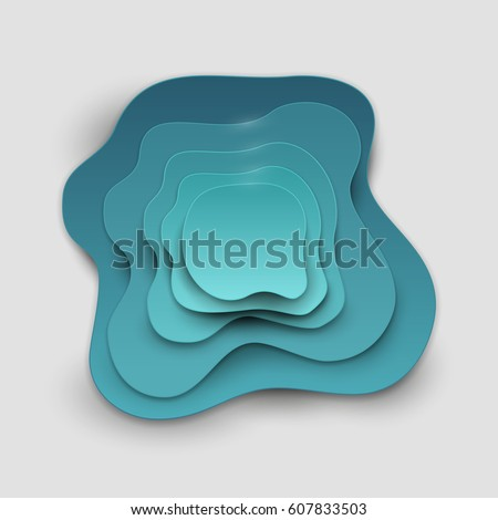 Paper art cartoon abstract waves in realistic trendy craft style. Modern origami design template. Concept inspiration or idea for your projects. Vector illustration.