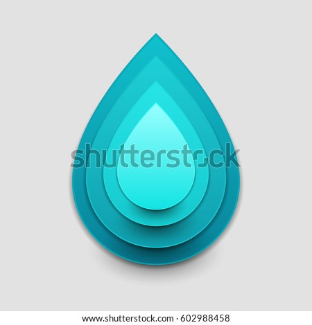 Paper art cartoon water drop in realistic trendy craft style. Modern origami design template. Concept inspiration or idea for your projects. Vector illustration.