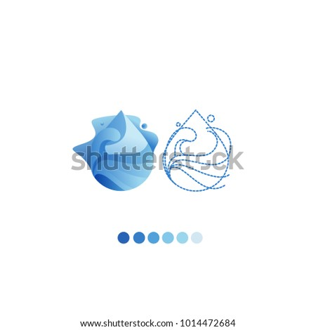 Paper art carve of water drop Water logo design template. Save water, ecology concept.