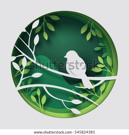 stock-vector-paper-art-carve-to-bird-on-tree-branch-in-forest-at-night-origami-concept-nature-and-animals-idea