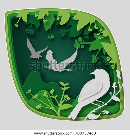 paper art carve to bird on tree