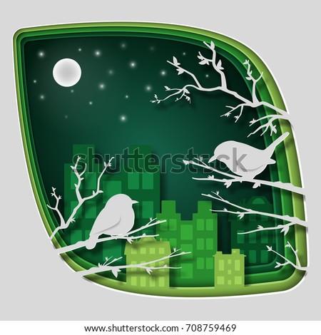 paper art carve to bird on tree