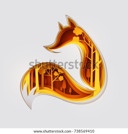 Paper art carved to fox and see through autumn forest, origami concept nature and animals idea, vector art and illustration.