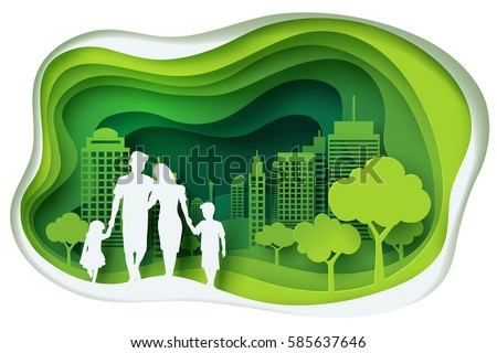 Paper art carving of family and park on green town shape, ecology idea, vector art and illustration.