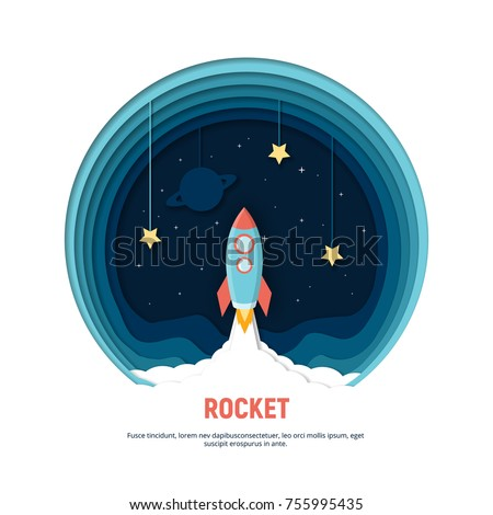 Paper art carving the rocket flying in space. Concept business idea, startup, exploration. Vector illustration in modern papercut style.