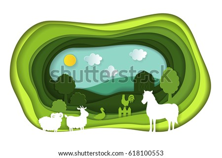 Paper art carving with green landscape with farm animals. Agriculture concept. Cut style. Vector illustration.