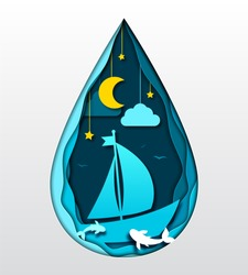 Paper art concept, 3d craft origami. Underwater scene, night landscape. Seascape with moon, sea waves, fish and boat. Silhouette of two dolphins and ship on sea background. Summer vacation, fishing