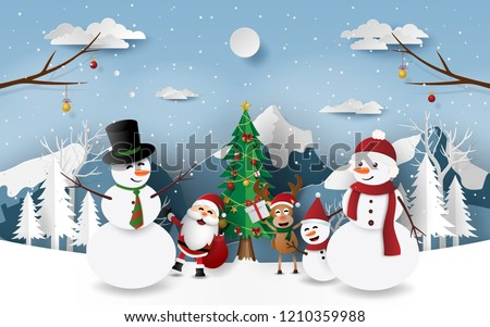 Paper art, Craft style of Christmas party with Santa Claus, Snowman and reindeer in the forest, Merry Christmas and Happy New Year