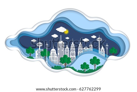 Paper Art design element with City go green ,save world concept,paper art,vector illustration