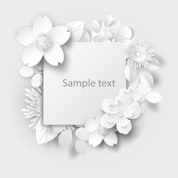 Paper art flowers background. Paper cut. Vector stock.