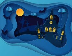 Paper art Halloween night background with haunted house, flying bat, cemetery with graves and dead tree. Modern paper cut style flyer or invitation template for halloween party.