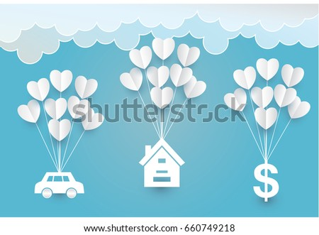 Paper art  heart house car cloud  in the sky concept, vector and  illustration