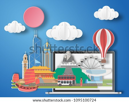 Paper art Hongkong,China infographic . China cityscape with labtop .
