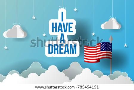 paper art i have a dream slogan