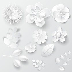 Paper art isolated flowers. Set - vector stock.