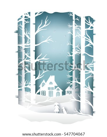 paper art landscape of Christmas and happy new year with tree and house design. vector illustration