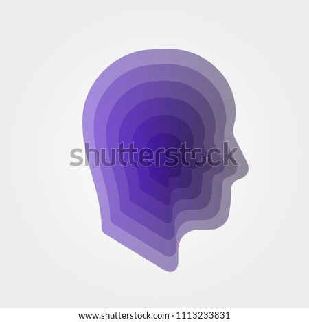 Paper art. Layered cut out human profile. Ideas inside head. Sign of thinking. Self-knowledge. Vector, illustration, eps10.