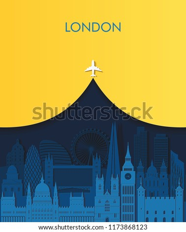 Paper art London detailed skyline. London famous landmarks. Travel and tourism background. Vector illustration