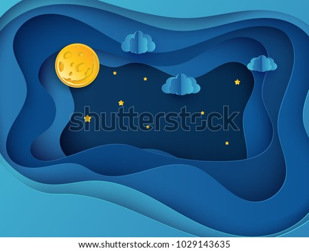 Paper art moon, fluffy clouds and stars in midnight. Modern 3d origami paper art style. Vector illustration, dark night sky