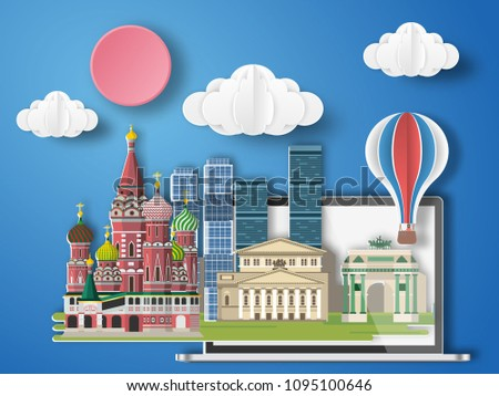 Paper art Moscow ,Russia infographic .  Russia cityscape with labtop .