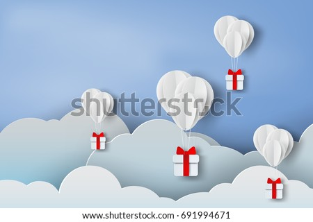 paper art of balloon white  floating and Gift Box on in the air blue sky background for Merry Christmas and Festival poster.Creative design paper craft and cut with Holiday season.vector.illustration