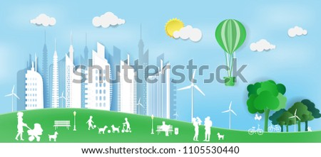 Paper art of concept world environment day and eco city with happy family,Paper art idea and digital craft.