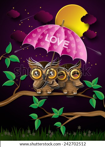 paper art of couple of owls on