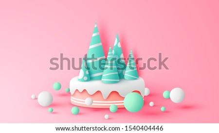 Paper art of cute cake decoration in Christmas theme. Christmas cake. Graphic design for Christmas. paper cut and craft style. vector, illustration.