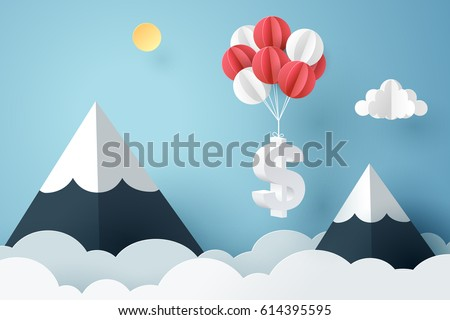Paper art of dollar sign hanging with balloon, business and finance concept and paper art idea, vector art and illustration.