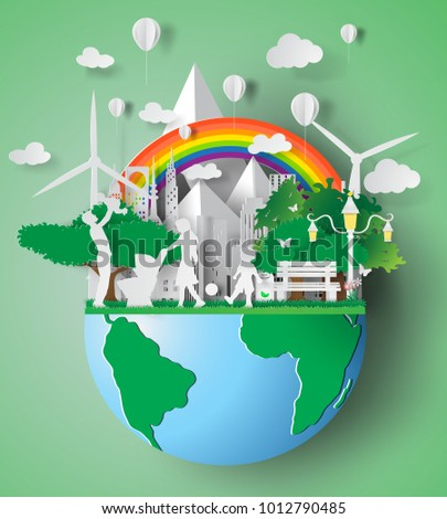 Paper art of eco friendly family concept and earth with environment day.vector illustration