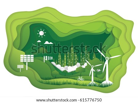 Paper art of Ecology concept. save world vector illustration
