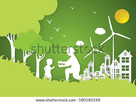 Paper art of family and park on green background, origami concept and ecology idea