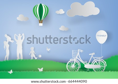 paper art of family playing in graden park,eco concept,green,vector
