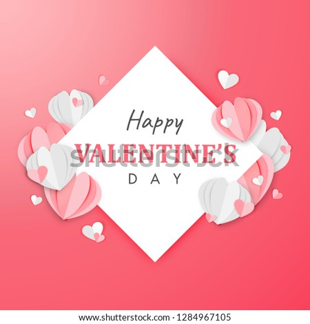 Paper Art of Happy Valentine's Day Background Origami Heart Shape Design Vector #1284967105