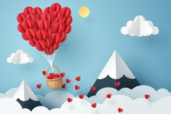 Paper art of heart balloon flying and scattering little heart in the sky, origami and valentine's day concept, vector art and illustration.