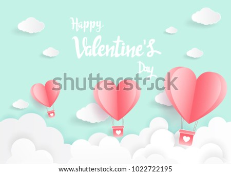 Paper art of illustration love and valentine day,Origami made hot air balloon flying #1022722195