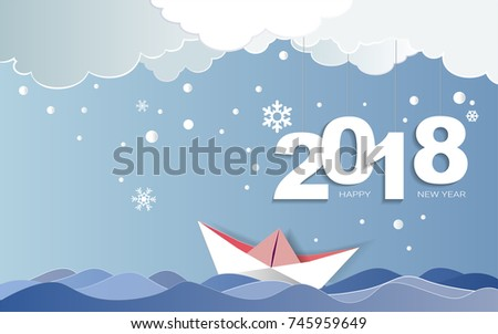 paper art of merry christmas day and happy new year 2018 on winter season with snow