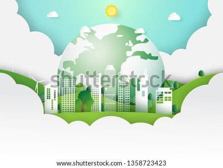 Paper art of nature landscape concept with save the earth and green eco city template background.Ecology and environment conservation concept.Vector illustration.