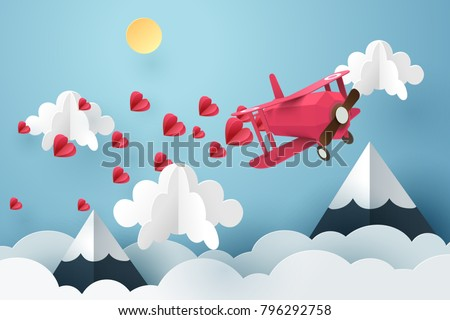 Paper art of pink air plane flying and scatter heart in the sky, origami and valentine's day concept, vector art and illustration.